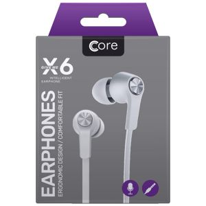 Core X6 Earphones with Built-In Remote & Microphone, White