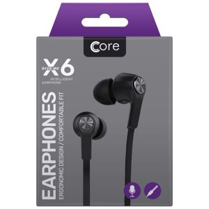 Core X6 Earphones with Built-In Remote & Microphone, Black