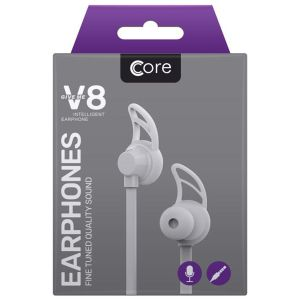 Core X8 Earphones with Built-In Remote & Microphone, White