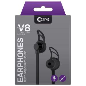 Core X8 Earphones with Built-In Remote & Microphone, Black