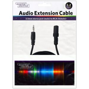 Essential Electrical 3.5mm Jack Audio Extension Cable, 1.2 Metres