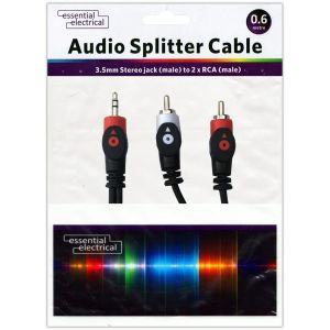 Essential Electrical 3.5mm Jack to 2-RCA Male Audio Splitter Cable, 0.6 Metres