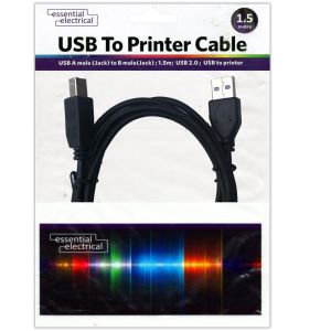 Essential Electrical USB 2.0 Type A Male to B Male Printer Cable, 1.5 Metres