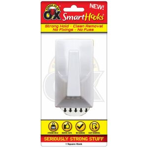 Strong as an Ox SmartHooks Self Adhesive Large Square Hook, Pack of 1 - White