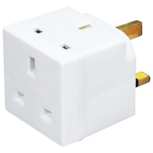 Status 2 Way 13A Non-Fused Mains Adaptor - White