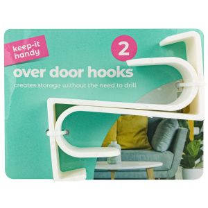 Keep it Handy Plastic Over Door Hooks, White - Pack of 2