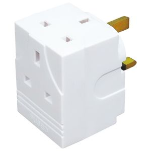 Status 3 Way 13A Fused Mains Adaptor - White