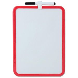 Just Stationery A4 Magnetic Dry Wipe Board with Clip-On Pen, Assorted Colours