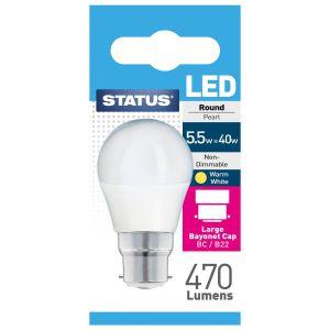 Status B22 BC 5.5 Watt LED Round Light Bulb, Warm White