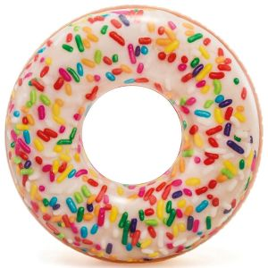 Intex 45 Inch Rainbow Sprinkle Iced Donut Inflatable Tube Pool Ring