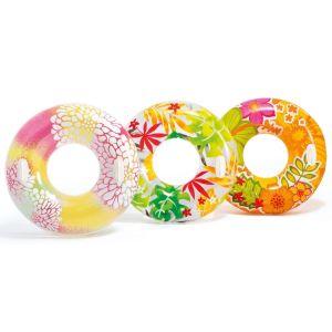 Intex 38 Inch Designer Tropical Transparent Tube Inflatable Swim Ring