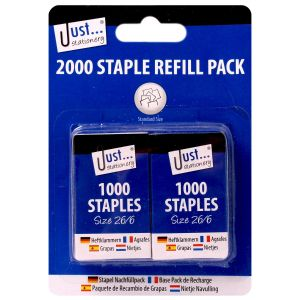 Just Stationery 26/6 Size Staples - Pack of 2000