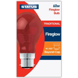 Status B22 BC 60 Watt GLS Traditional Red Fireglow Light Bulb