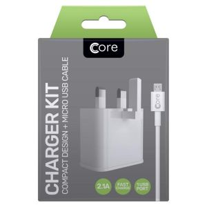 Core Android Compact Retracting Fast Charge Travel Charger & Cable Kit