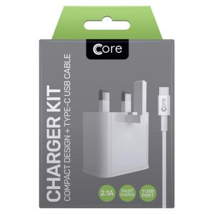 Core Compact Retracting Fast Charge Travel Charger & USB Type-C Cable Kit