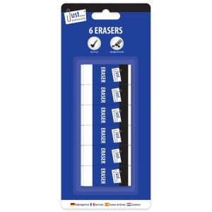 Just Stationery 6 Piece Eraser Set