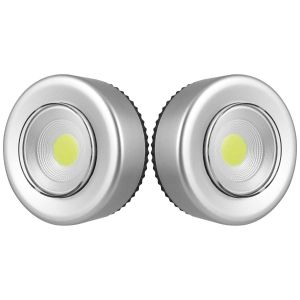 Uni-Com COB LED Push Lights, Silver - Pack of 2
