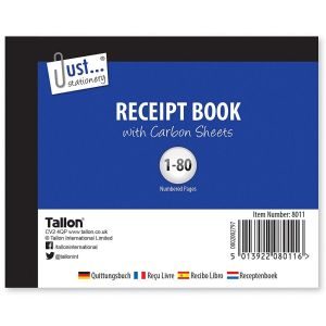 Just Stationery Half Size Duplicate Invoice Receipt Book, 80 Numbered Pages