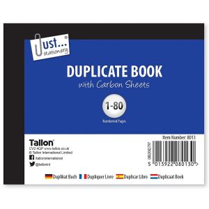 Just Stationery Half Size Duplicate Book, 80 Numbered Pages