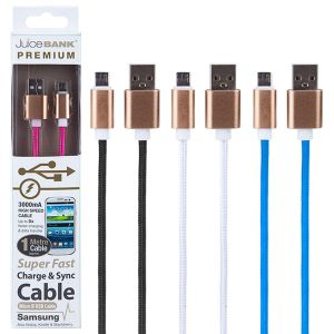 Juice Bank Premium High Speed Braided USB to Micro-B USB Fast Charge Cable, 3000mA - 1 Metre