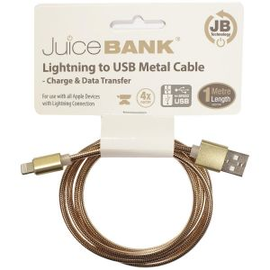 Juice Bank Metal Lightning to USB Charge Cable, 1 Metre