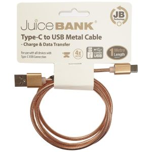 Juice Bank Metal USB to USB Type-C Charge Cable, 1 Metre