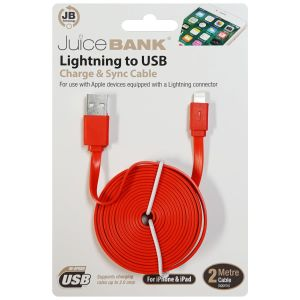 Juice Bank Flat iPhone Lightning to USB Charge Cable, 2 Metre