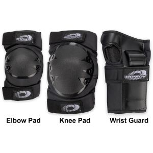 Osprey 6pc Elbow, Knee & Wrist Protective Skate Pad Set, Black