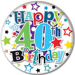 Simon Elvin Happy 40th Birthday Jumbo Badge, 15cm - Male