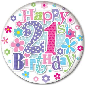 Simon Elvin Happy 21st Birthday Jumbo Badge, 15cm - Female