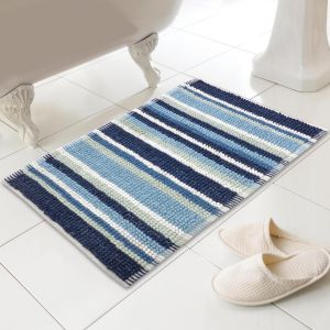 Country Club Micro Bobble Striped Bath Mat - Blue & Navy
