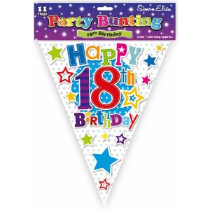 Simon Elvin Happy 18th Birthday Foil Party Bunting - Unisex