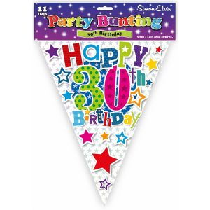 Simon Elvin Happy 30th Birthday Foil Party Bunting - Unisex