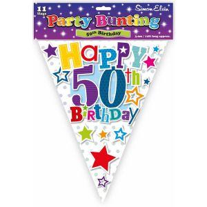 Simon Elvin Happy 50th Birthday Foil Party Bunting - Unisex