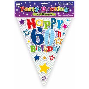 Simon Elvin Happy 60th Birthday Foil Party Bunting - Unisex