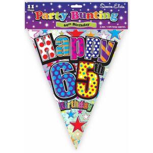 Simon Elvin Happy 65th Birthday Foil Party Bunting - Unisex