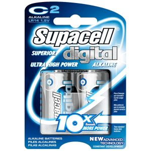 Supacell Digital Alkaline C Size Batteries - Pack of 2