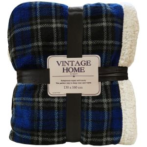 Rapport Cameron Tartan Check Sherpa Throw, 130 x 160 cm - Navy