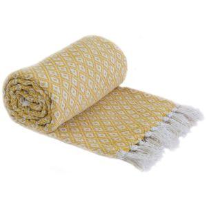 Emma Barclay Casablanca Scandi Woven 100% Recycled Cotton Throw, Ochre