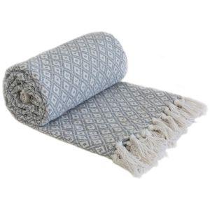 Emma Barclay Casablanca Scandi Woven 100% Recycled Cotton Throw, Silver