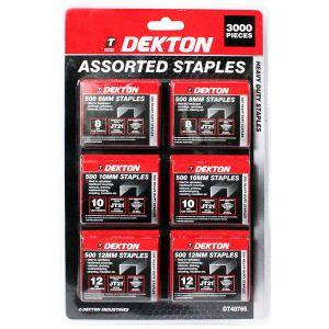 Dekton 3000pc Assorted Heady Duty Staple Gun Staples Set