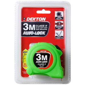 Dekton 3m x 15mm Auto Lock Hi-Vis Dual Markings Tape Measure