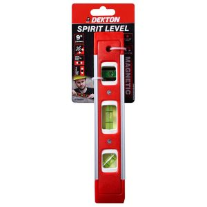 Dekton 9 Inch / 230 mm Spirit Level with Magnetic Base, Red