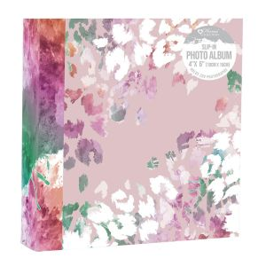 Home Collection Pink Floral 4 x 6 Inch Slip In Photo Album, Holds 200 Photos