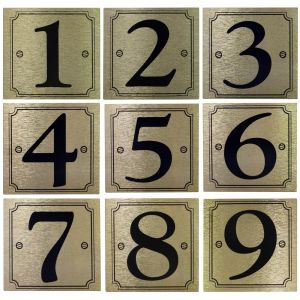 Gold Brushed Metallic Effect House & Gate Numbers Self Adhesive Stickers
