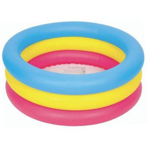 Jilong Colourful Three Ring Inflatable Round Paddling Pool, 30 x 10 Inch - Multi