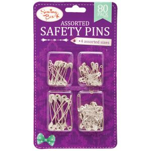 Sewing Box Pack of 80 Assorted Safety Pins - Silver