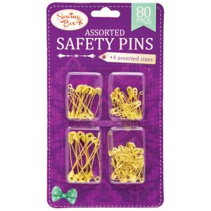 Sewing Box Pack of 80 Assorted Safety Pins - Gold