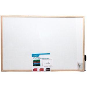Ashley Housewares Dry Erase Wipe Memo Board with Wood Frame, White - 600x400mm