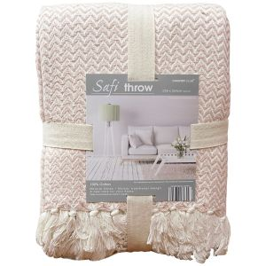 Country Club Safi Chevron Weave Throw - Blush Pink